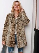LOOZYKIT 2019 New Women Autumn Leopard Faux Mink Fur Womens Winter Long Warm Leather Coat Fashion Slim Jackets