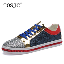 TOSJC; сезон осень; мужская повседневная обувь для скейтборда; кроссовки с блестками; Высококачественная блестящая Мужская Спортивная обувь; обувь для вечеринок на шнуровке; Hombre