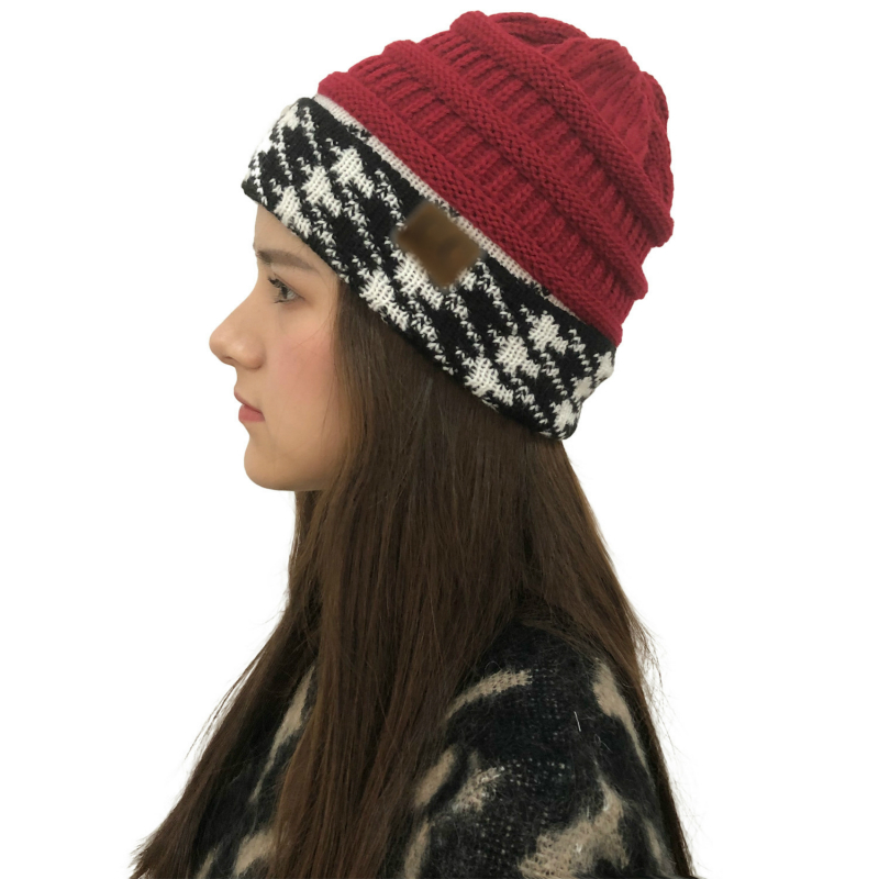 Womens Beanie Cap Autumn Wool Knit Cap Houndstooth Color Matching Knit Hat Winter Ms Hat 2019 Soft Warm Female Cap Winter Hats in Women 39 s Skullies amp Beanies from Apparel Accessories