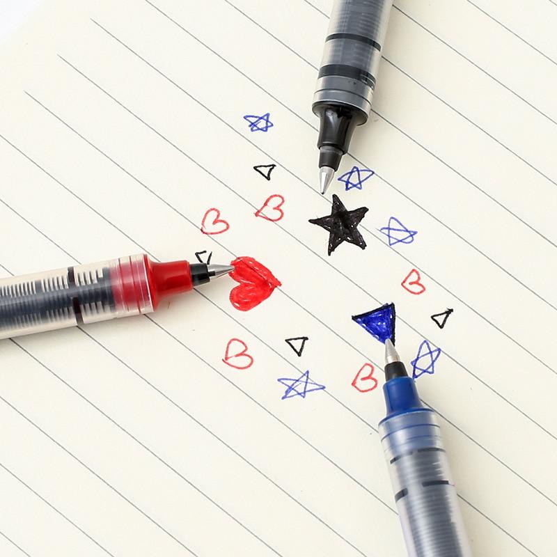 0 5mm Multicolor Gel Pen Straight Liquid Black Blue Red Ink Pens School Supplies Writing Marking Pen School Office Stationery