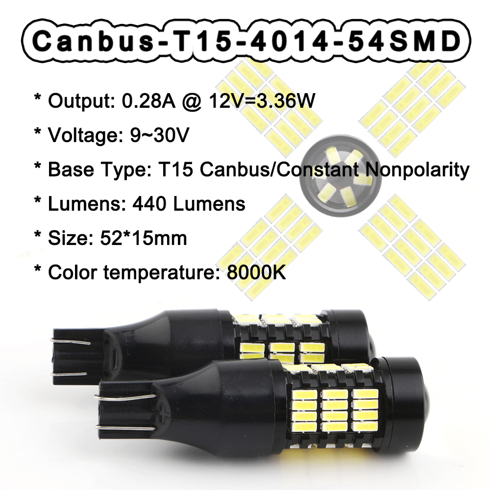 2pcs 12V T15 Canbus 4014 54 SMD Led Bulb NO ERROR Turn Parking Door Signal Light Side Maker Lamp Indicator Light Auto Car 8000K in Signal Lamp from Automobiles Motorcycles