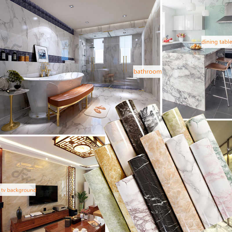 60cm * 5m muebles de mármol de renovación impermeable DIY PVC fondos de pared calcomanías de armario pegatinas adhesivas armario decoración de la puerta de la Mesa
