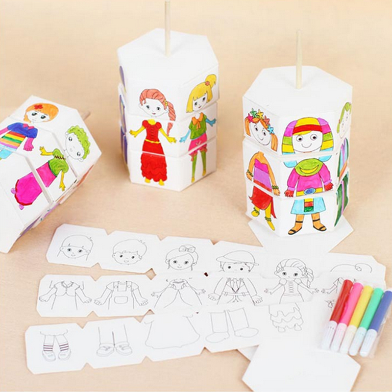 Children Rotation Change Clothes Doll Rotary DIY Paper Colour Matching Creative Handcraft Puzzle KindergartenToys