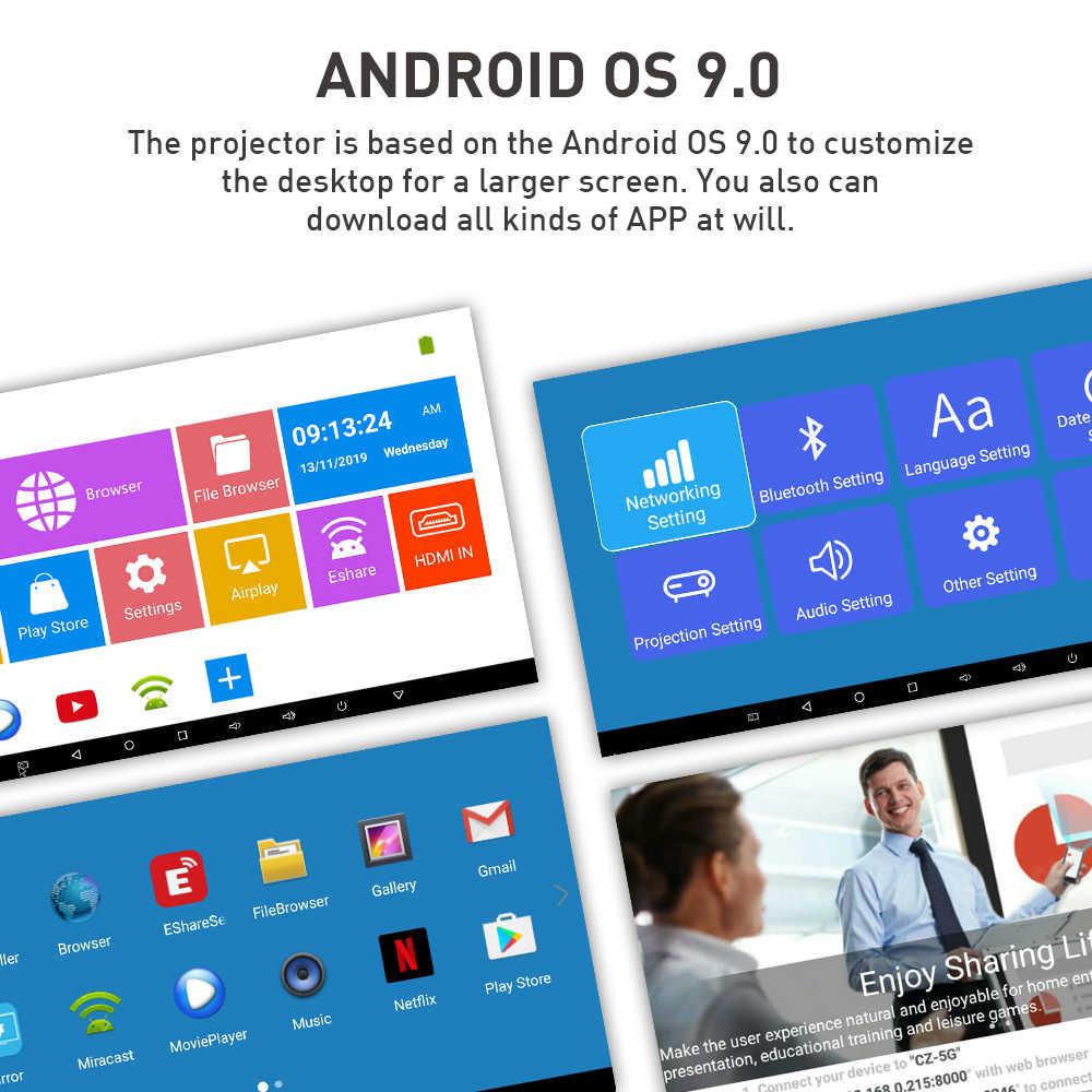 Salange P11 Proyektor Portabel 4K Android 9.0 Dukungan WIFI Bluetooth HDMI Mini Proyektor Ponsel Proyektor dengan Baterai