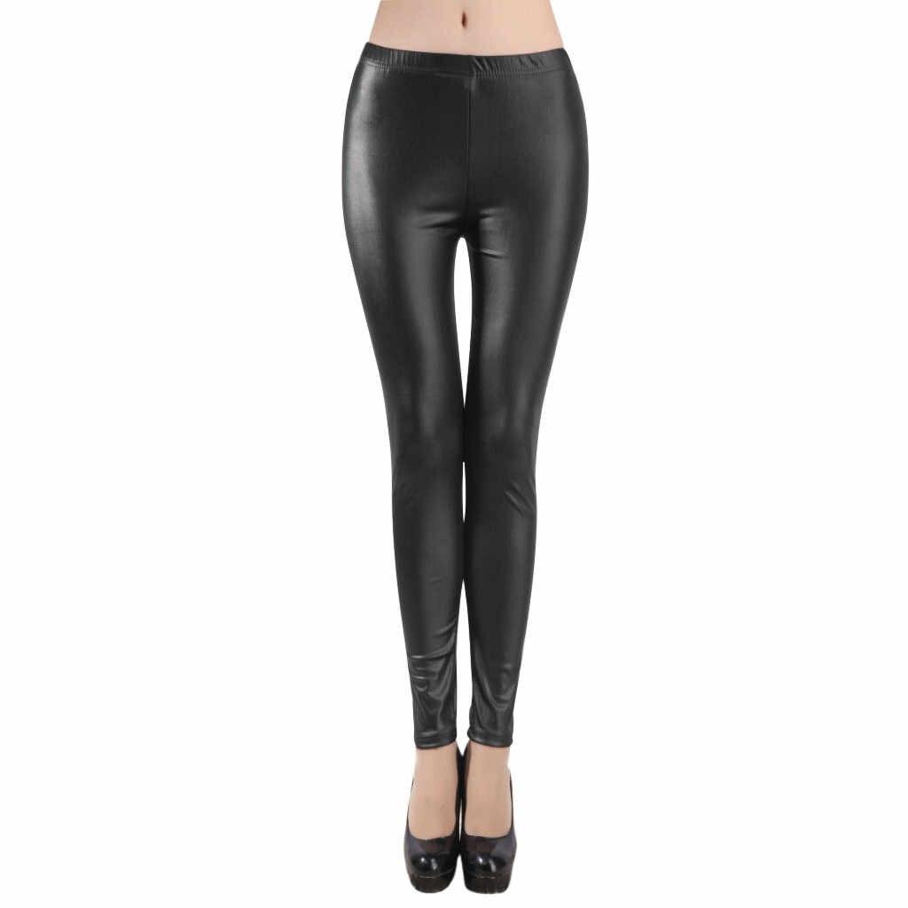 แฟชั่นสตรีใหม่ PLUS ขนาด S-4XL สีดำสบายๆกางเกงหนังเซ็กซี่ Slim Windproof Leggings กางเกง