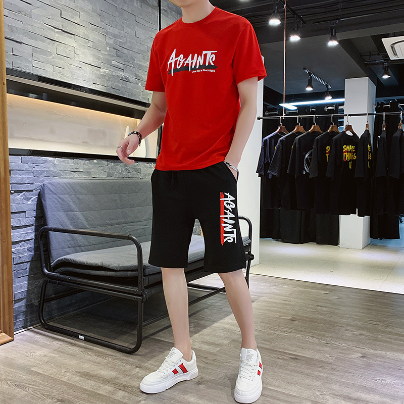 Summer New Style Short Sleeve T-shirt Sports Casual Two-Piece Set Shorts Half Sleeve Crew Neck Large Size Loose-Fit Korean-style