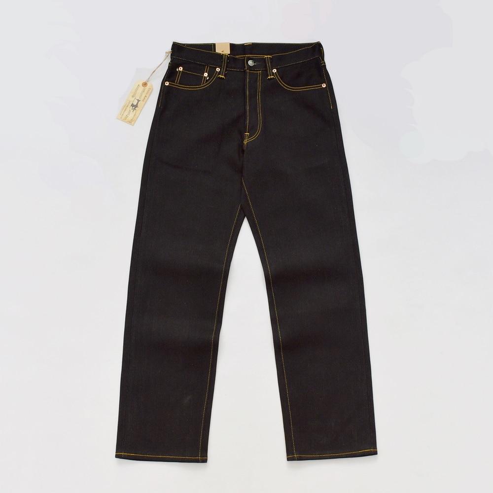 BOB DONG Black Heavyweight Selvage Denim 23oz Jeans For Men Regular Straight Fit