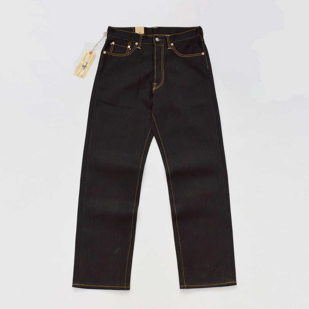 BOB DONG Zwart Zwaargewicht Zelfkant Denim 23oz Jeans Voor Mannen Regelmatige Straight Fit