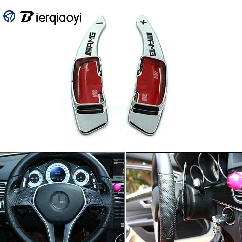2Pcs Black Aluminum Car Steering Wheel Shift Extension Paddles For Mercedes-Benz