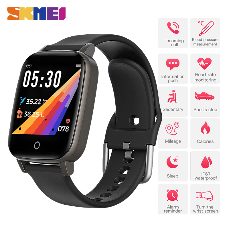 SKMEI Male Digital Clock Body Temperature Measurement Heart Rate Monitor Men's Watch Sports Wristwatches Relogio Masculino T1