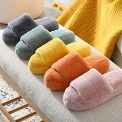 2020Women Winter Slippers Cute Plush Heels Fluffy Warm Shoes Thick Sole Ladies Girls Indoor Outdoor Bedroom Fur Slides