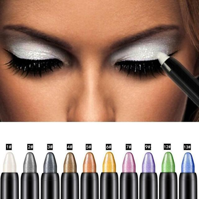 15 Color Highlighter Eyeshadow Pencil Waterproof Glitter Matte Nude Eye Shadow Makeup Pigment Cosmetics White Eye Liner Pen