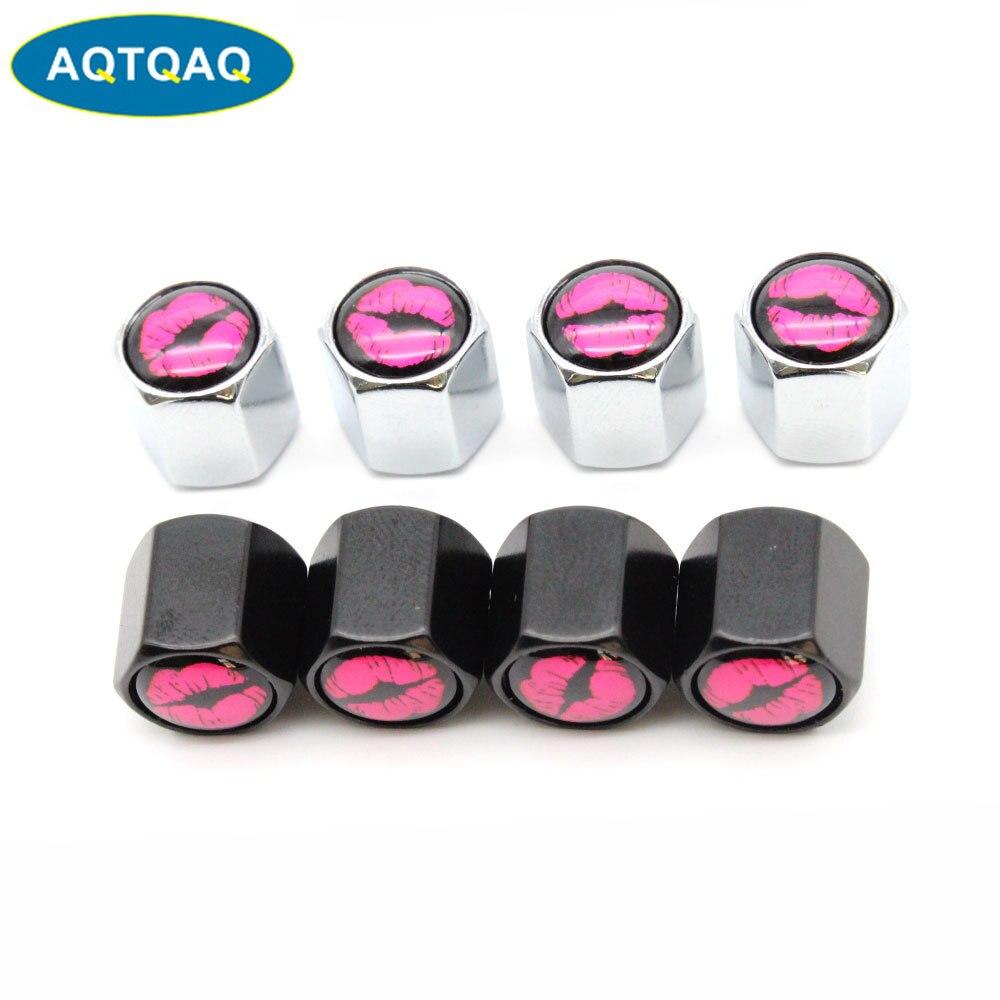 4 Pcs/Set Zinc Alloy Lip Style Tire Valve Stem Cap Tire Wheel Stem Air Valve Caps For Auto Cars