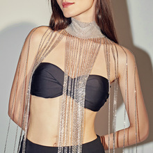 Body Chain Sexy Long Tassel Rhinestone Body Chain Statement Crystal Shoulder Choker Necklace Women Nightclub Party Body Jewelry