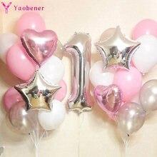 1st feliz aniversário prata rosa balões folha número ballons primeiro bebê menina princesa festa decorações meu 1 um ano suprimentos