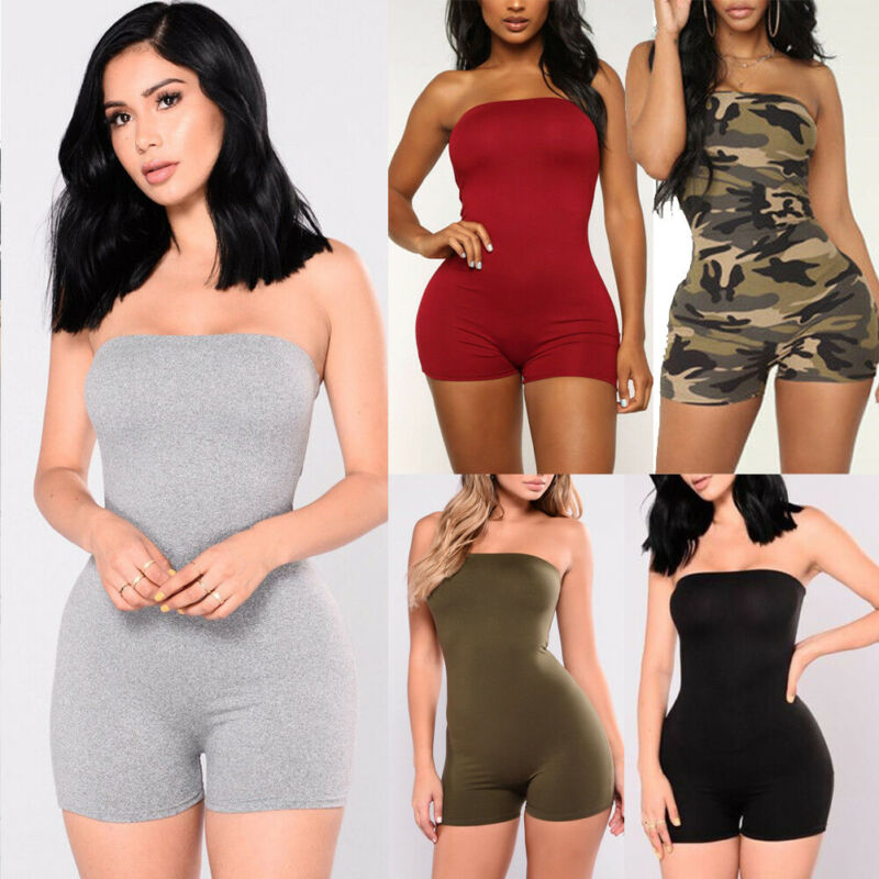 Women Casual Sleeveless Bodycon Rompers Jumpsuit Playsuit Off Shoulder Camouflage Print Clubwear Party Short Pants Rompers