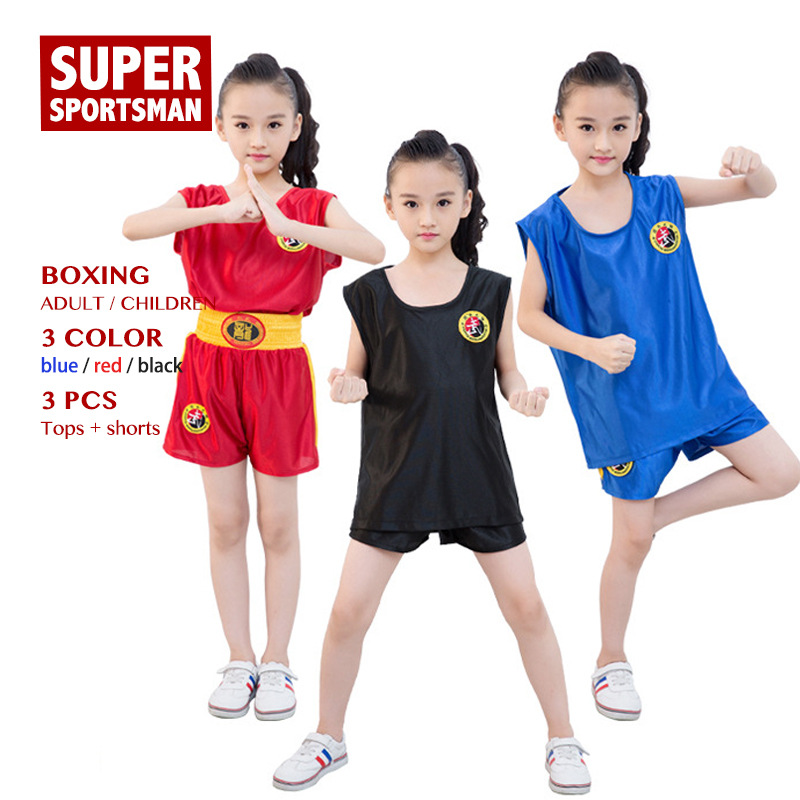 Children MMA Kick Boxing Shirts Men Women Muay Thai Shorts Kids Fight Wear Boys Girls Performance Training Uniform Clothes Suits