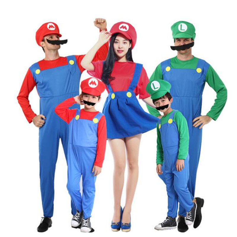 Adult Kids Super Mary Halloween Costumes Cosplay Show Costume Set Cartoon Mario Uniform Family Parent-Child Clothes