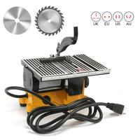4 Mini Electric Table Saw with 2 Blades Handmade Woodworking Bench DIY Hobby Model Crafts Cutting Tool Yellow/Blue