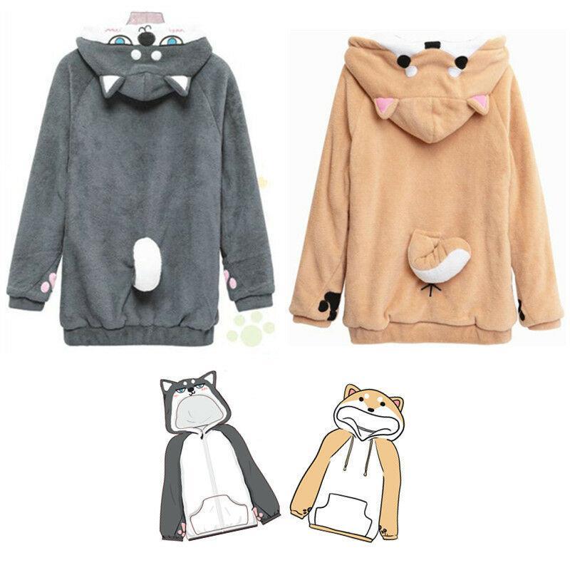 Womens Girls Neko Atsume Shiba Inu Husky Hoodie Coat Pullover Christmas