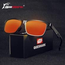 QUESHARK Men Aluminum Magnesium Polarized Fishing Sunglasses Metal Frame Hiking Climbing Glasses Uv Protection Fishing Eyewear