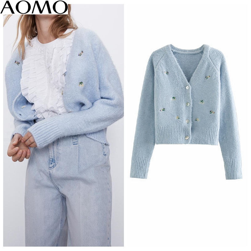 AOMO  Women Elegant Embroidery Blue Cardigan Vintage Jumper Lady Fashion Knitted Cardigan Coat 3L03A