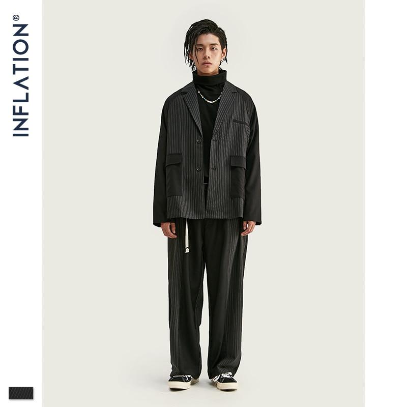 INFLATION Men Patchwork Blazer Loose Fit Fashion Suit Brand Street Men Casual Blazer Black Color Masculino Blazers Mens Suit