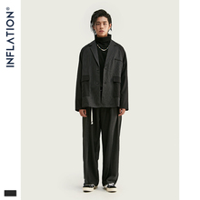 Inflacja mężczyźni Patchwork Blazer luźny krój moda garnitur marka Street Men casualowa marynarka czarny kolor Masculino Blazers męski garnitur