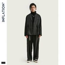 אינפלציה גברים טלאים בלייזר Loose Fit אופנה חליפת מותג רחוב גברים מקרית בלייזר שחור צבע Masculino טרייל Mens חליפה