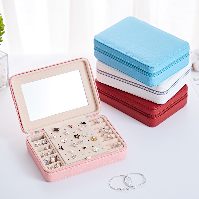 Korean Style Jewelry Box Organizer Display Storage Leather Large Big Mirror Multi-function Necklace Earring Ring Box For Jewelry