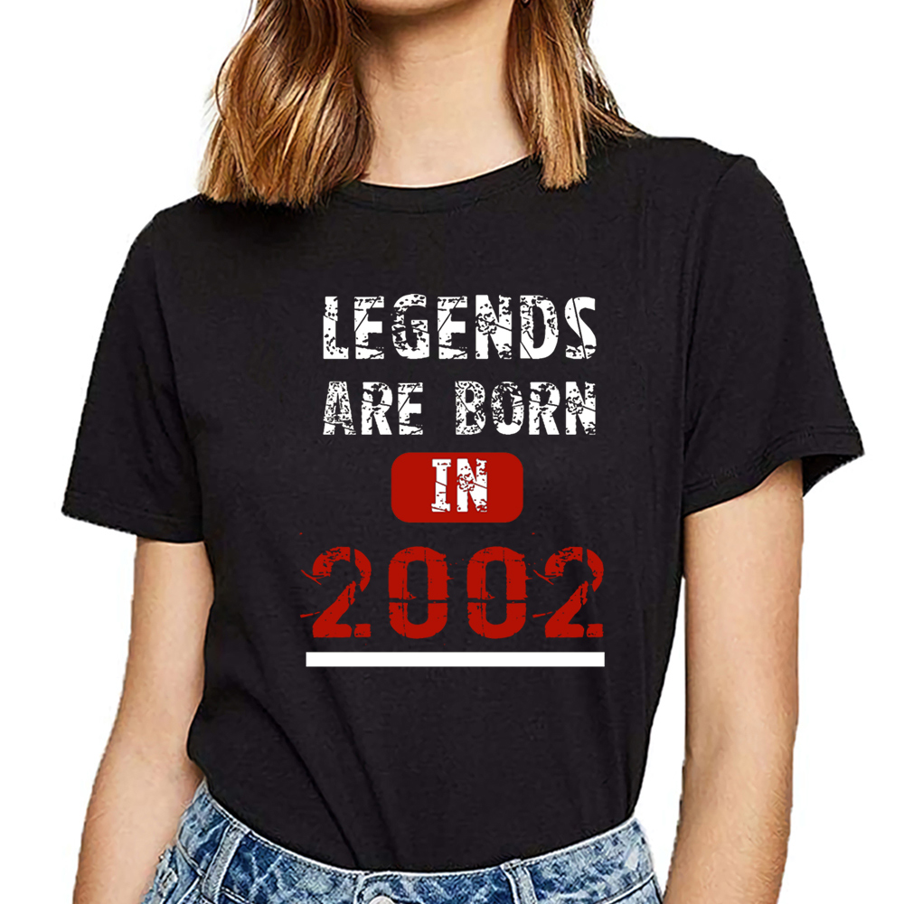 Tops T Shirt Women Legends Are Born In 2002  Funny White Short Female Tshirt