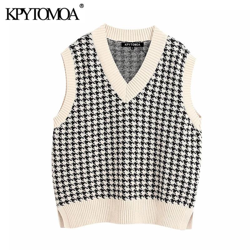 KPYTOMOA Women 2020 Fashion Oversized Knitted Vest Sweater V Neck Sleeveless Side Vents Loose Female Waistcoat Chic Tops