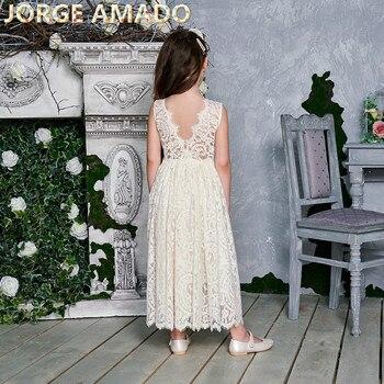 Vestido de princesa para niñas vestido de fiesta sin mangas de encaje blanco crema vestido de alta baja de playa ropa de bebé E17125