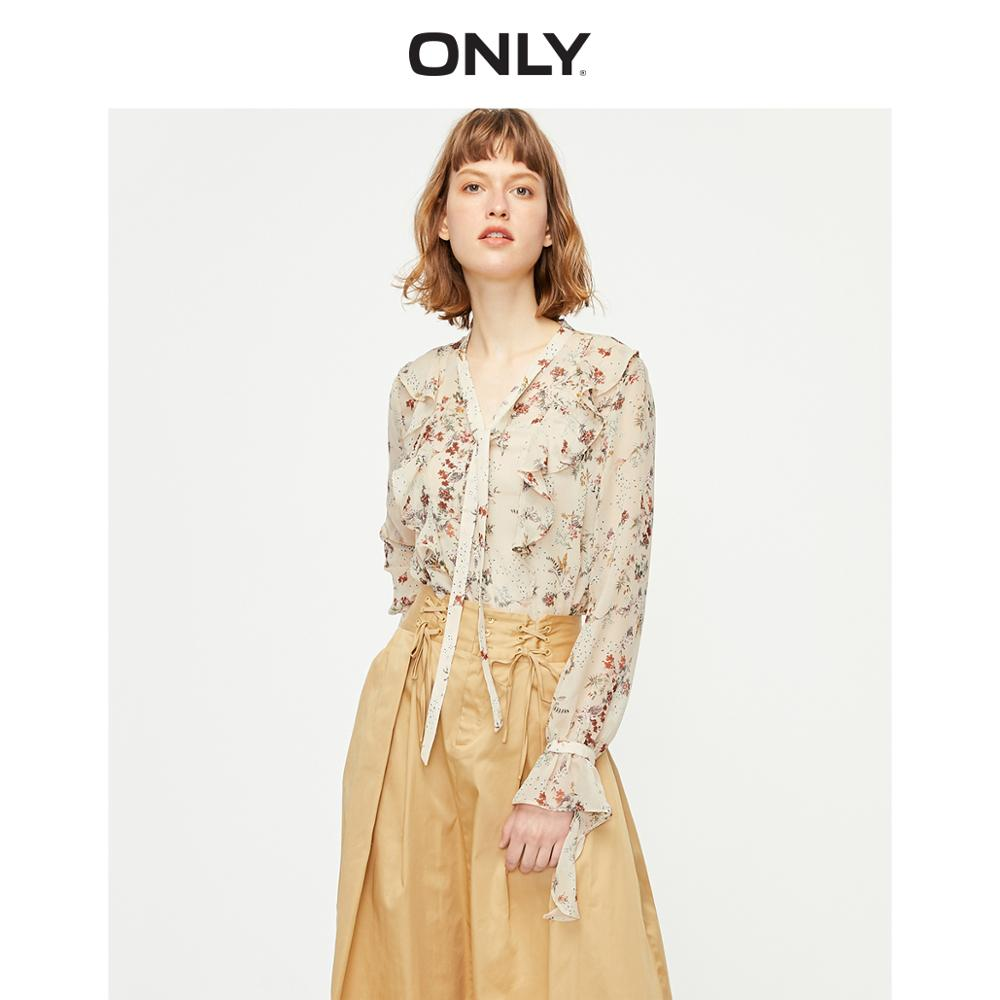 ONLY Women's Two-piece Floral Ruffled Long-sleeved Chiffon Shirt | 119262502