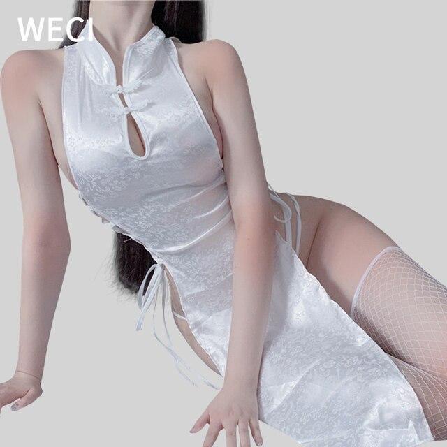 WECI Cheongsam Sexy Dresses Body Under Wear Erotic Women Silk Robes Tree Beautiful Slut Satin Role Play Classical Dance Costume 1