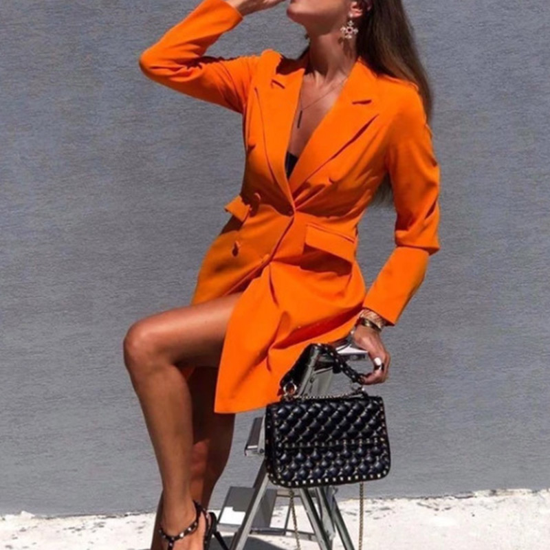 Women Chic Black Orange Blazer Dress Pockets Double Breasted Blazers Jacket Female 2020 Spring Office Lady Dresses Feminino