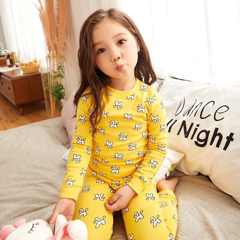 CHILDREN'S Underwear Suit Pure Cotton Tracksuit Baby Thermal Underwear Girls Warm Kids Spring And Autumn Cotton Jersey