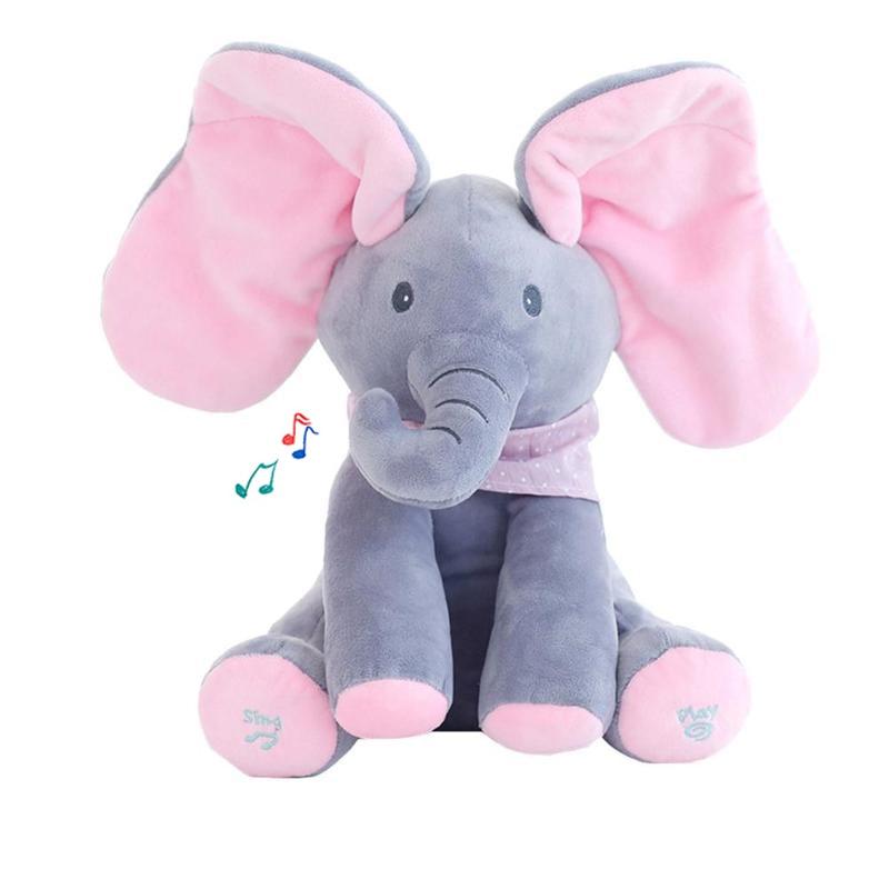 30cm Peek A Boo Elephant Plush Doll Electric Toy Talking Singing Musical Elephant