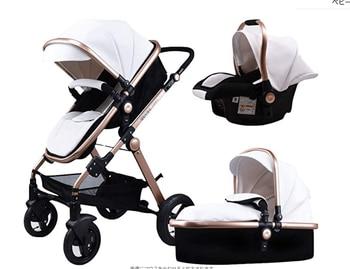 Newborn Baby Stroller 3 in 1 High Landscape Carriage Luxury Travel Pram Basket quality Stroller Baby Car seat Hot Sale Upgrade! 29