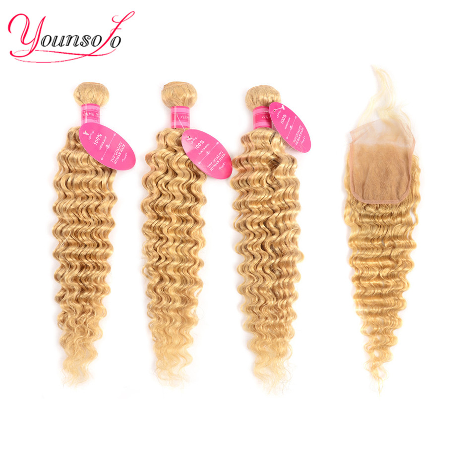 Younsolo 613 Bundles With Closure Brazilian Deep Wave Human Hair Blonde Bundles With Closure Lace Frontal With Bundles Remy Hair image