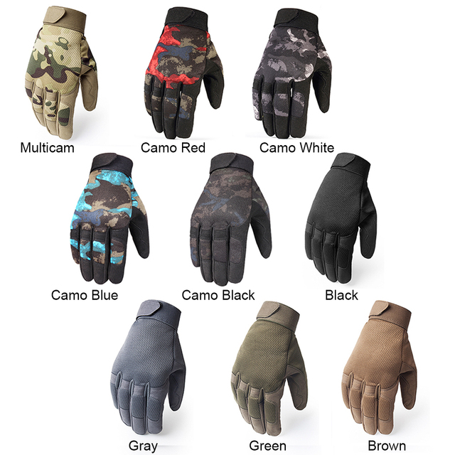Multicam Tactical Gloves Antiskid Army Military Bicycle Airsoft Motocycel Shoot Paintball Work Gear Camo Full Finger Gloves Men 4