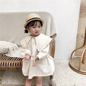Image 4 - Sweet Princess Girl Lace lapel Dress Children Long sleeved Cotton Dress Pure Color Girls Aline Dress Button Retro Babies Dress