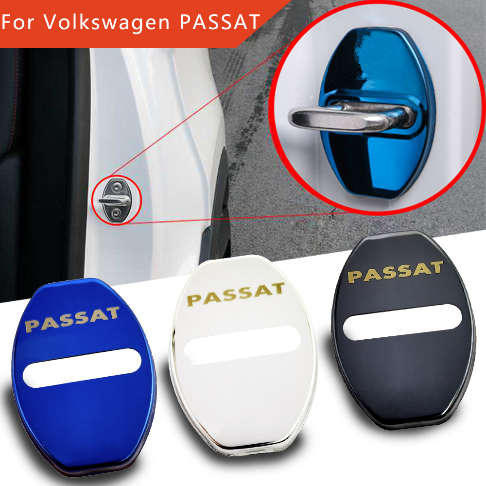 FLYJ 4pcs For <font><b>Volkswagen</b></font> <font><b>PASSAT</b></font> B4 <font><b>B5</b></font> B6 B7 NMS CC R36 car <font><b>sticker</b></font> Car Door Lock Buckle cover Protect car accessories image