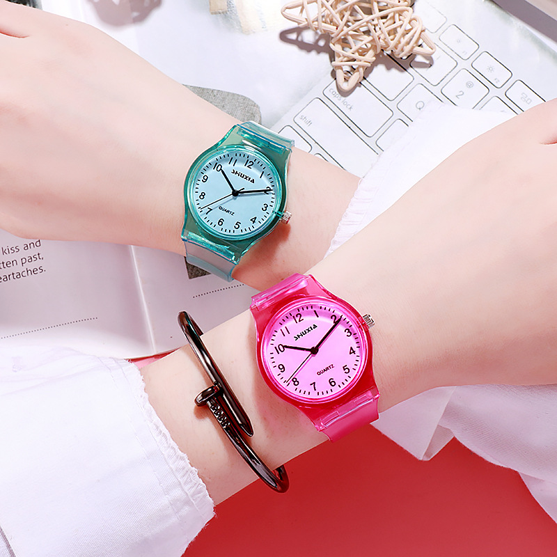 For Student Couple Watch For Numeral Children's Wrist Watch Transparent Clock Baby Kids Hour Fashion Young Boy Girl XX3092