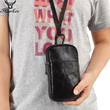 купить Flanker genuine leather men belt waist bag casual fanny pack small waist pack hook bum bag lanyard cigarette case 7