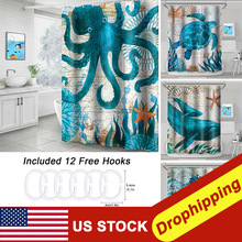 Sea Turtle Print  Shower Curtain Bathroom Waterproof Polyester  Bath Curtain Octopus Washable  Bath Decor Curtains With  Hooks