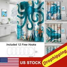 Tartaruga do mar impressão cortina de chuveiro banheiro à prova dwaterproof água poliéster banho cortina octopus lavável banho decoração cortinas com ganchos