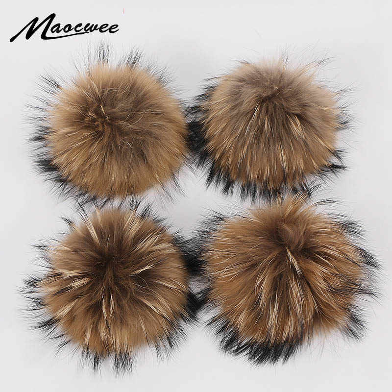 Bola de pele diy 15cm real pele de guaxinim pompons bola para tricô chapéus acessórios chaveiro cachecol pompons real natural