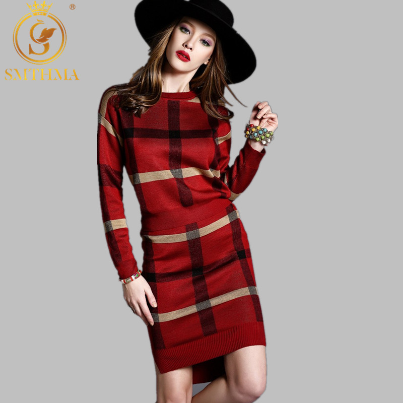 Striped Long-sleeved  Pullovers Knitted 2 Piece Sets 2019 Winter Runway Elegant Leisure Suit Skirt Stretch Crop Top And Set