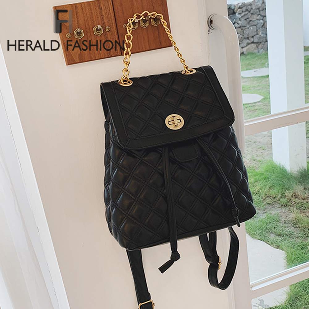 Herald Fashion Women Leather Backpack Plaid School Bag For Teenage Girls Vintage Chain Female Drawstring Travel Bagpack Mochila